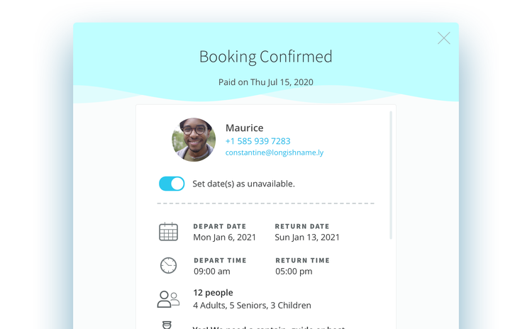 Booking Unavailable Switch Settings.