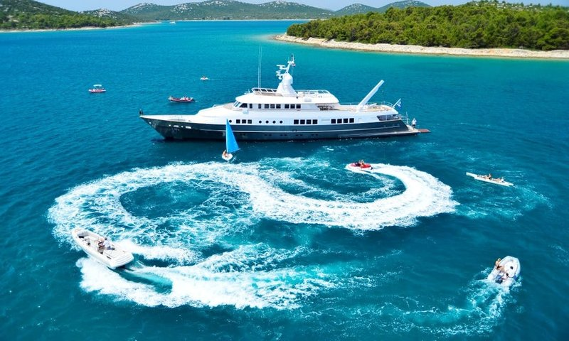 Mega Yacht w: Jet Skis in the Adriatic